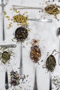 herbal teas in spoons